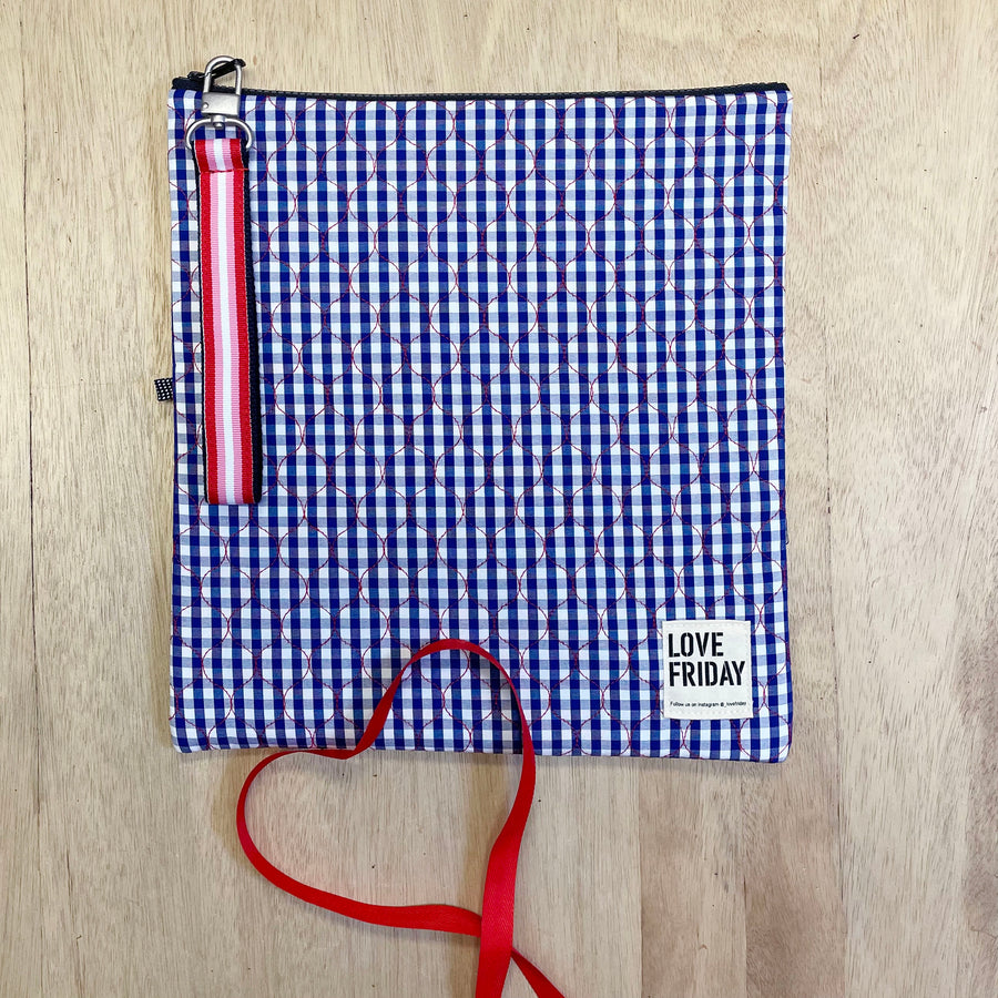 Love Friday insulated reusable bags - Gingham navy, white and red - Unique Gifts Adelaide