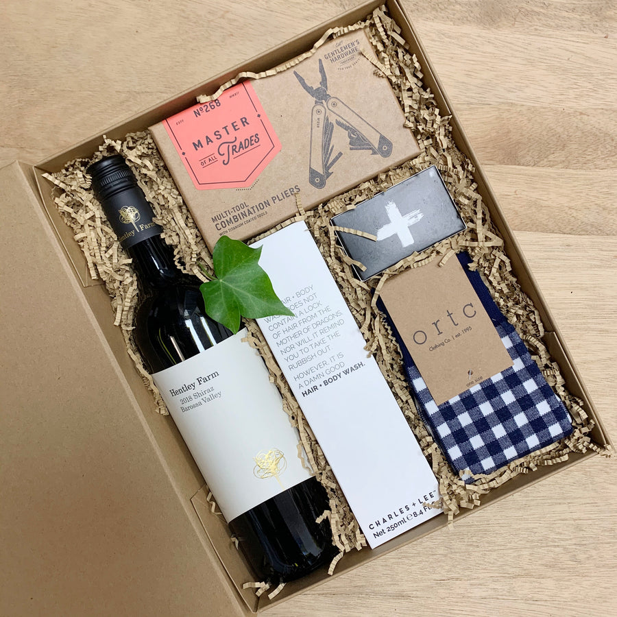 Christmas Gift - Male Gift Box - Gingham Socks & Wine Hamper