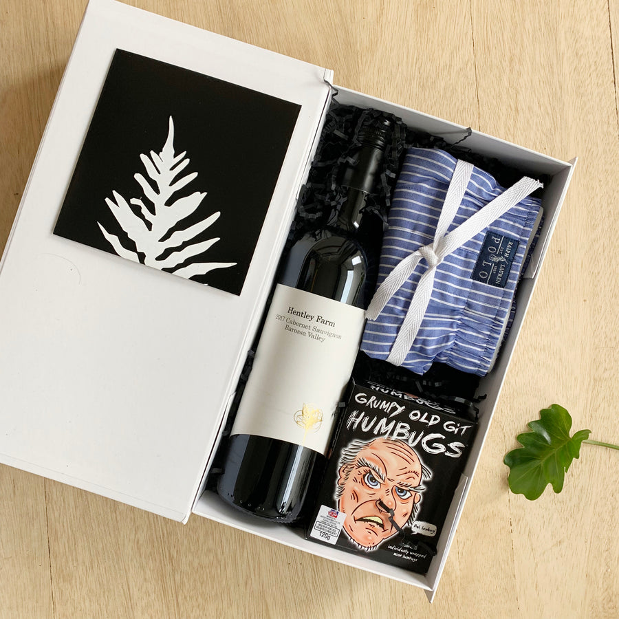 Male Gift Box Australia Delivery - Mints, Red Win and Ralph Lauren Boxer Shorts