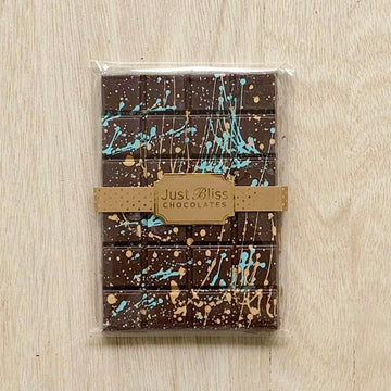 Just Bliss Dark Classic Block Chocolate 200g (Splatter Design) - Sleek and Unique Gifts
