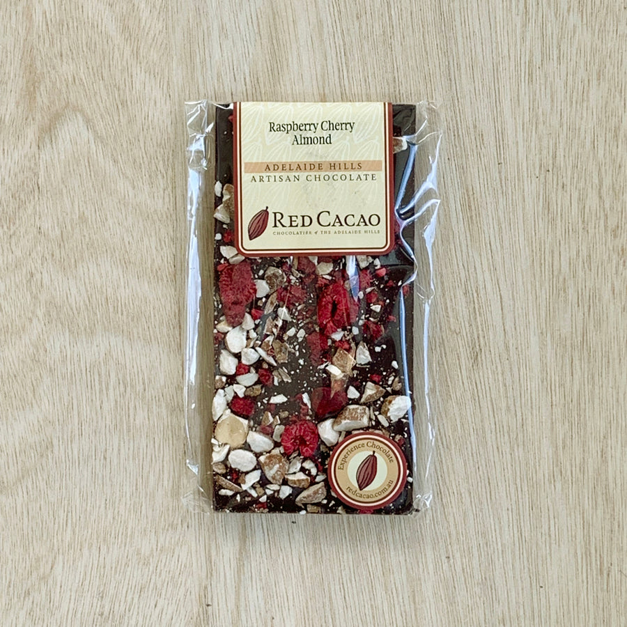 Red Cacao Raspberry Cherry Almond Chocolate Tile - Sleek and Unique Gifts