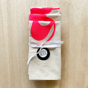 Original Hand Crafted Screen Printed Tea Towel - Fluro Pink on Natural Cotton - Sleek and Unique Gifts