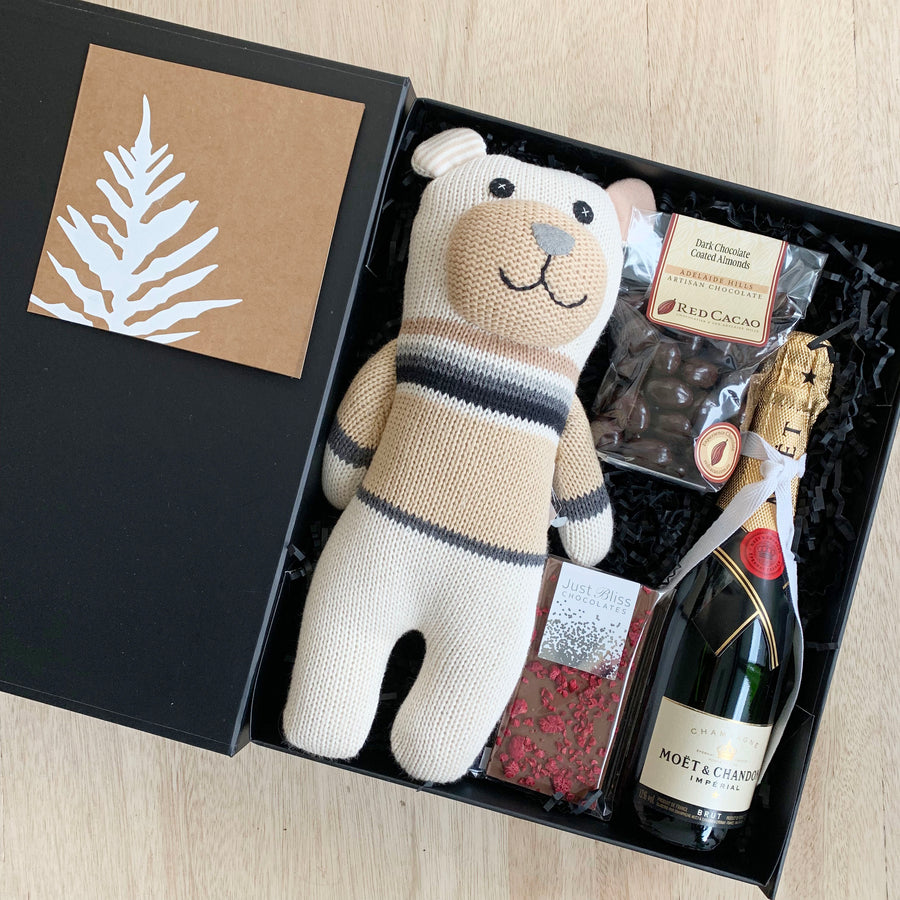 unisex baby gift with moet gift box
