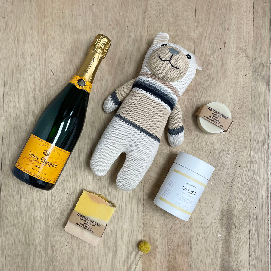 Veuve Unisex Newborn Baby Gift Box and Teddy - Baby Gifts Delivered Adelaide
