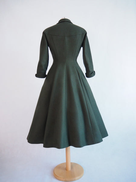vintage coat, vintage princess seam coat, 1950s coat, hourglass shaped coat