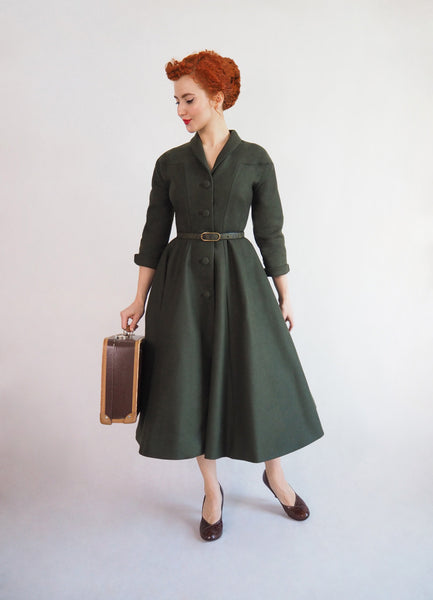 vintage coat, vintage princess seam coat, 1950s coat, hourglass shaped coat, marlena westfal