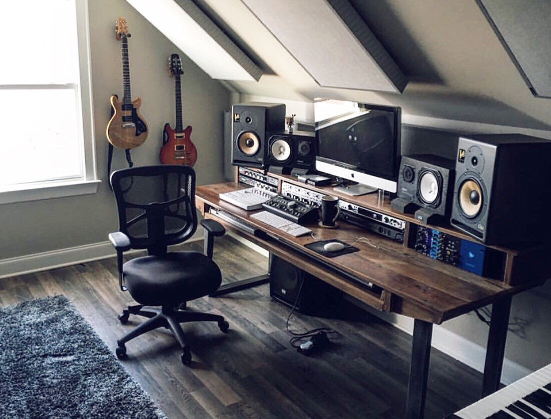 attic desk ideas - Reclaimed 88 key Studio Desk for Audio Video Music