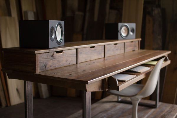 Monkwood SD88 Studio Desk in Rustic Reclaimed Wood for Audio / Video / Music / Film / Production
