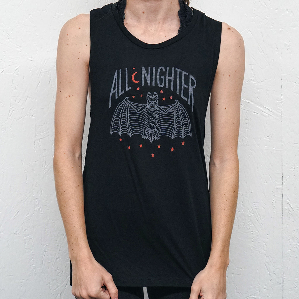 All-Nighter Vintage Black Muscle Tank