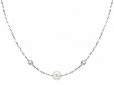 Swarovski Pearl & CZ Station Necklace in Sterling Silver