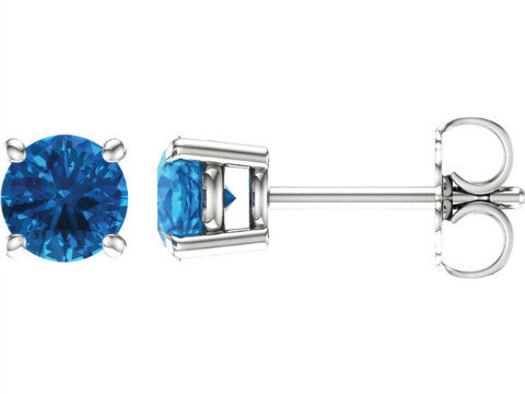 Birthstone Stud Earrings in 14K White Gold