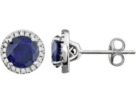 Birthstone & Diamond Halo Stud Earrings in 14K White Gold