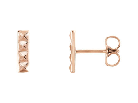 Pyramid Bar Earrings in 14K Gold & Sterling Silver