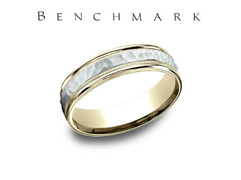 Hammered Center 14K Two Tone Wedding Band