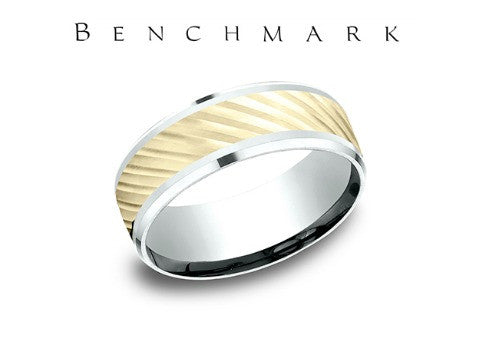 Diagonal Cut 14K Two Tone Wedding Band