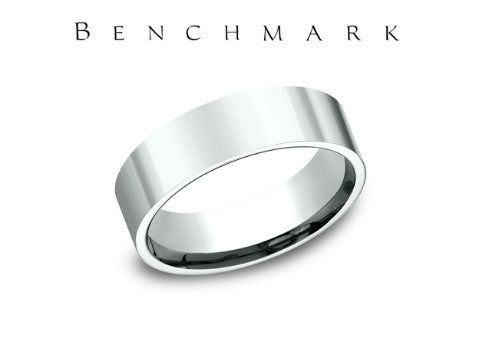 Satin Flat Edge 14K White Gold Wedding Band