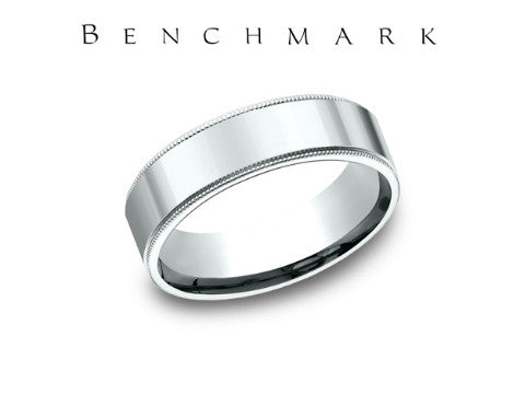 Satin Finish Milgrain Edge 14K White Gold Wedding Band