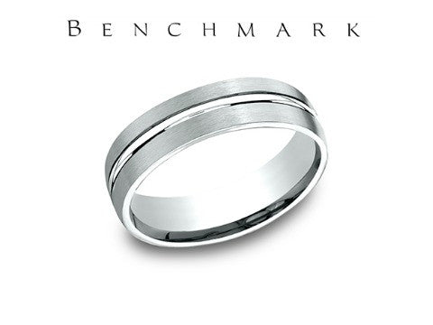 Dual Finish Center Cut 14K White Gold Wedding Band