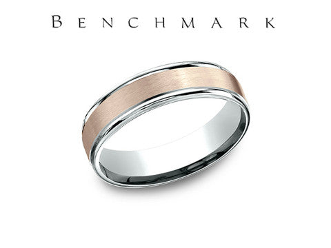 Satin Finish Round Edge 14K White Gold Wedding Band