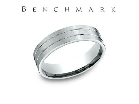 Satin Finish Two Thin Cuts 14K White Gold Wedding Band