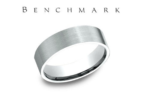 Satin Finish Fractured Rock 14K White Gold Wedding Band