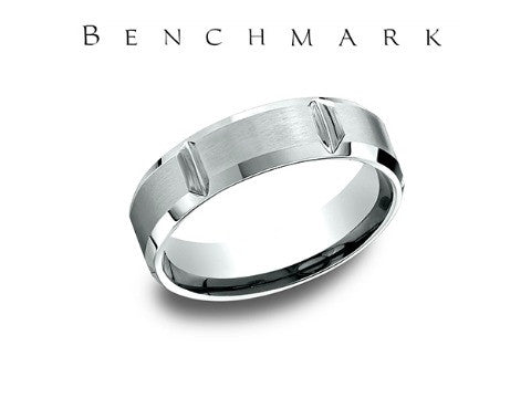 Satin Finish Vertical Cuts Beveled Edge 14K White Gold Wedding Band