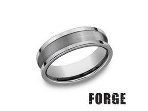 Satin & High Polished Tungsten Wedding Band