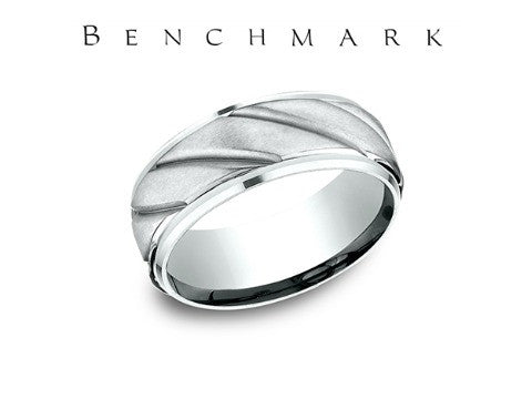 Satin Finish Drop Edge 14K White Gold Wedding Band