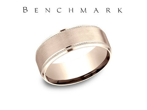 Satin Center Beveled Edge 14K Rose Gold Wedding Band