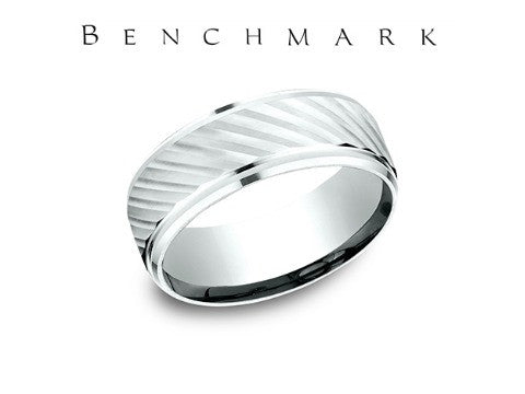Satin Finish Diagonal Cut 14K White Gold Wedding Band