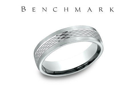 Mesh Center 14K White Gold Wedding Band