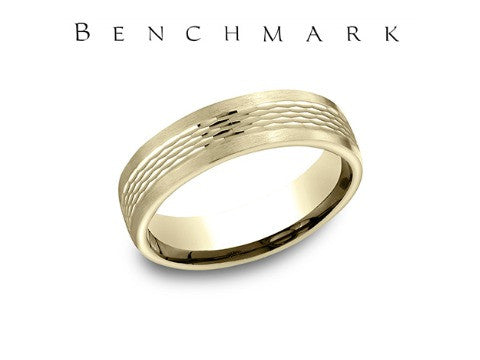 Satin Finish Center High Polish Beveled Edge 14K White Gold Wedding Band