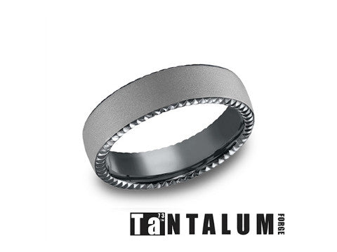 Satin Coin Edge Tantalum Wedding Band