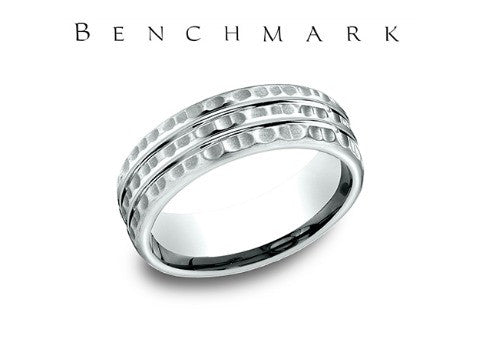 Satin Hammered Finish14K White Gold Wedding Band