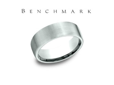 Satin Center Beveled Edge 14K White Gold Wedding Band