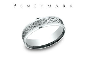 Dual Finish Celtic Knot 14K White Gold Wedding Band