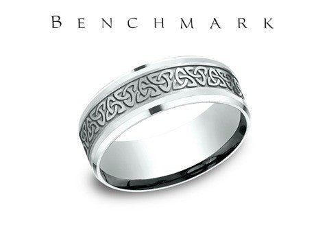 Love Knot Beveled Edge 14K White Gold Wedding Band