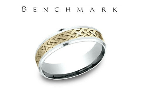 Dual Finish 14K Two Tone Celtic Knot Wedding Band