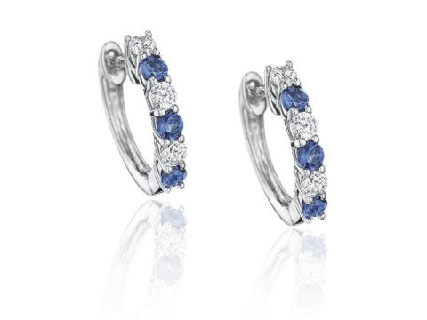 Simulated Diamond & Sapphire Halo Stud Earrings in Sterling Silver