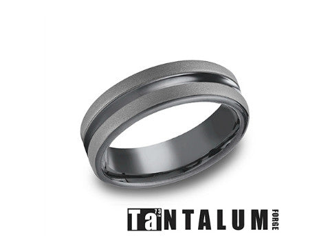 Center Cut Satin & Polished Tantalum Wedding Band