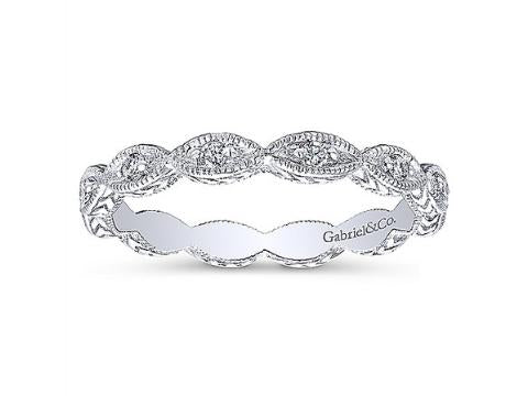 Diamond Eyelet Band in 14K White Gold