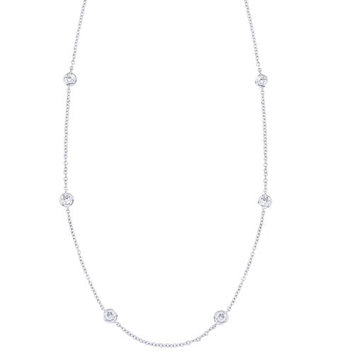 Diamond Station Necklace in 14K White Gold