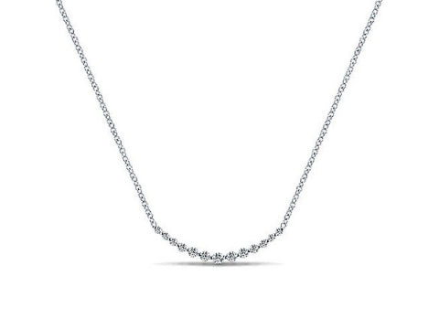 Diamond Curved Bar Necklace in 14K White Gold