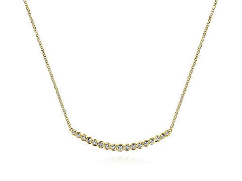 Diamond Bezel Bar Necklace in 14K Yellow Gold