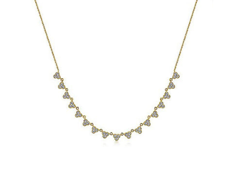 Diamond Bib Necklace in 14K Yellow Gold