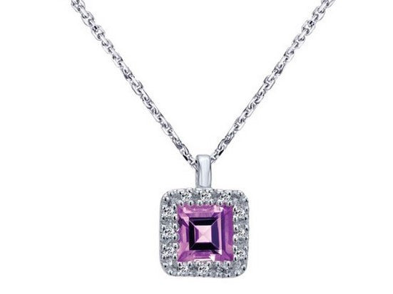 Amethyst & Diamond Halo Necklace in 14K White Gold