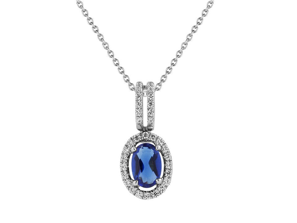 Precious Gemstone & Diamond Oval Halo Pendant in 14K White Gold