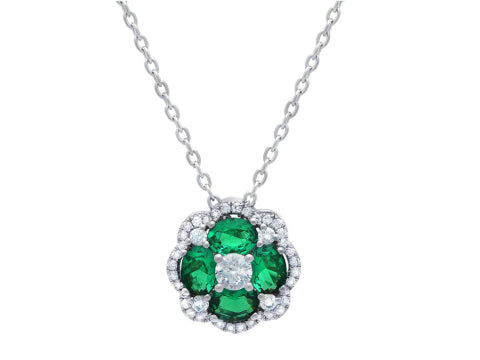 Emerald & Diamond Cluster Pendant in 14K White Gold