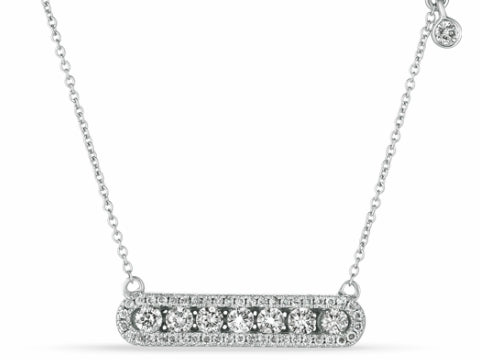 Diamond Waved Bar Necklace in 14K White Gold