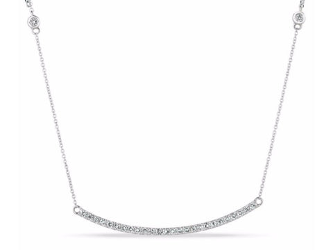 Diamond Channel Bar Drawstring Bracelet in 14K White Gold